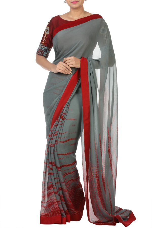 1f660ef069 Buy Maroon Raw Silk Blouse With Grey And Maroon Shibori Saree.