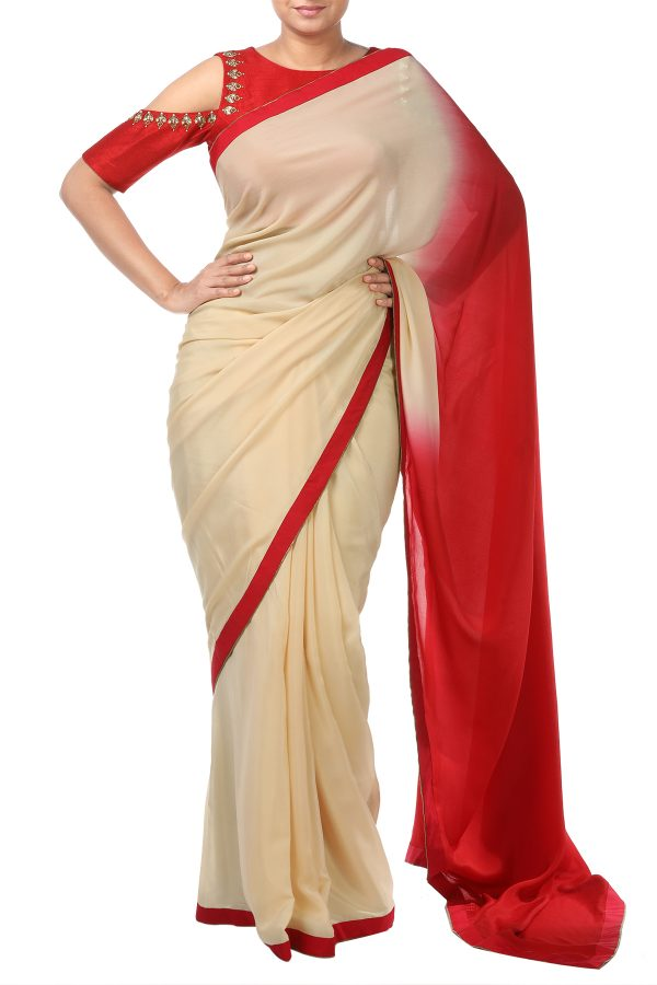 many fashionable cheap prices great fit Cold Shoulder Blouse with Ombre Saree
